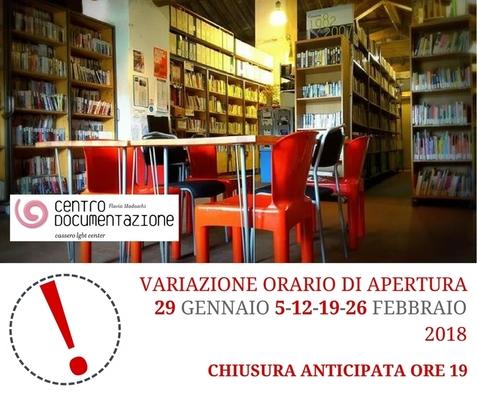 Centro Documentazione – orario 29 Gennaio / 26 Febbraio